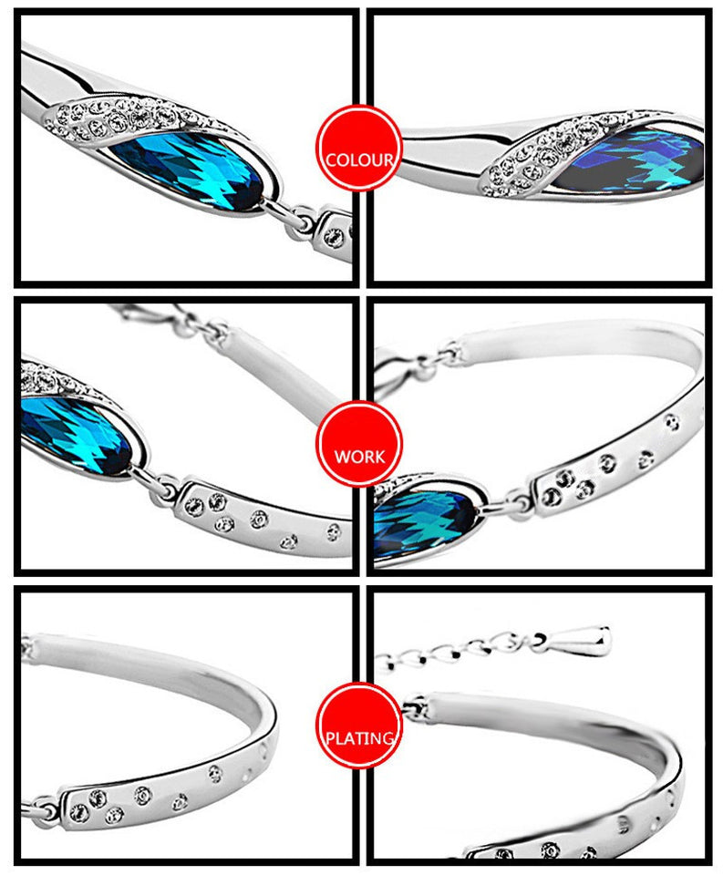 Blue Gem Silver Charm Bracelet Bangle