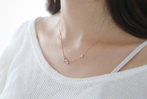 Sterling Silver/Rose Gold Chain Star Pendant Necklace