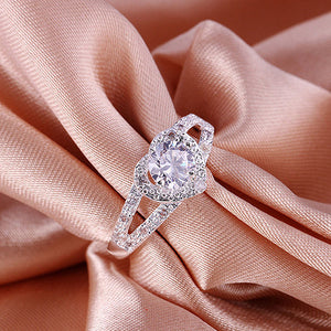Silver Plated Crystal Love Heart Shaped Ring