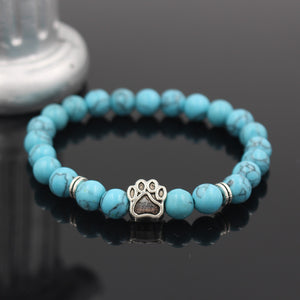 Dog Hand Paw Natural Stone Beaded Elastic Rope Yoga Bracelet (12 different colors)