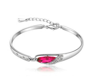 Hot White Silver Elegant rhinestone Glass Charm Bracelet Bangle (4 Colors)