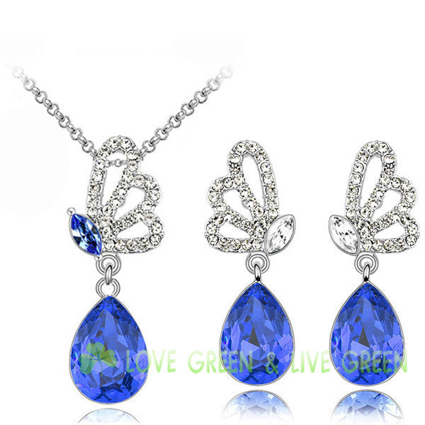 Crystal Butterfly Pendant Necklace & Earrings (5 colours)