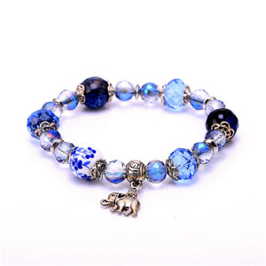 Crystal Beaded Elephant Charm Bracelets (7 colors available)