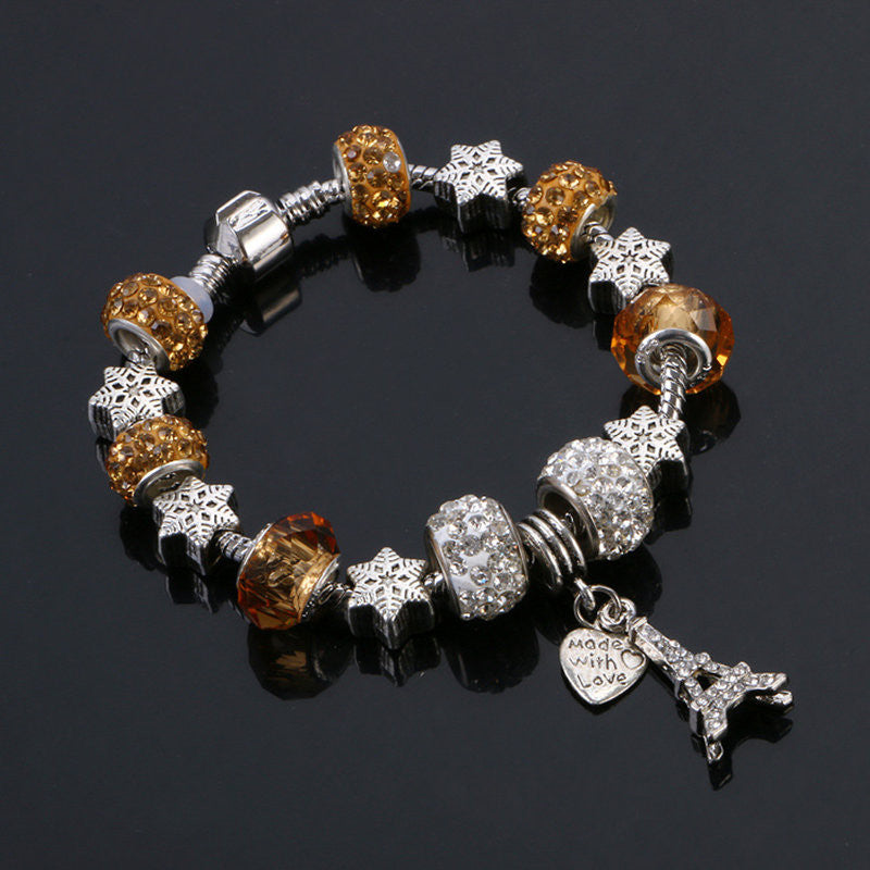 Eiffel Tower Charm Beaded Silver Bracelet  (9 different colors)