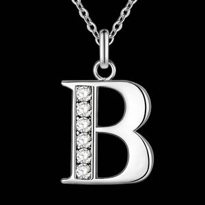 Name Initial Silver Plated Pendant Necklace (Letter A-S)