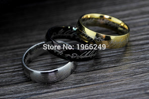 Lord of the Rings Gold/Silver/Black Stainless Steel Ring (3D Carving)
