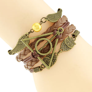 Owl Harry Potter wings :: Multi-layer :: deathly hallows bracelet (10 different colors)