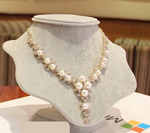 Pearl Necklace Charm Gem Crystal Choker Necklace