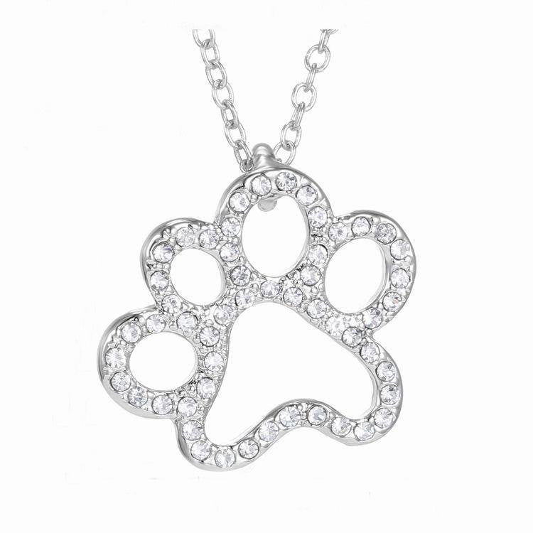 Lovely Cat Paw & Heart Crystal Pendant Necklaces