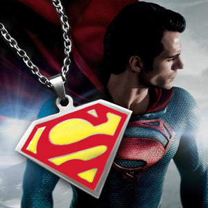 Superman logo stainless steel pendant necklace