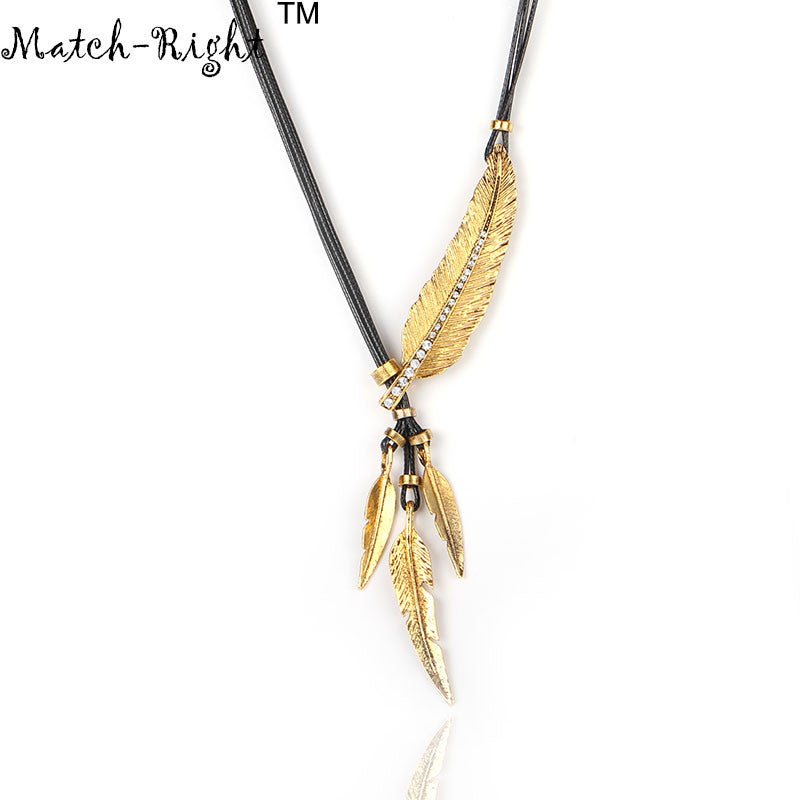 Alloy Feather Pendant Rope Chain Vintage Necklace
