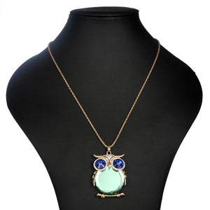 Owl Pendant Glass/Crystal Pendant Necklaces (9 colours) - Gold/Silver plated