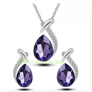 Austrian Crystal water tear drop pendant Necklace + Earrings (7 colours)