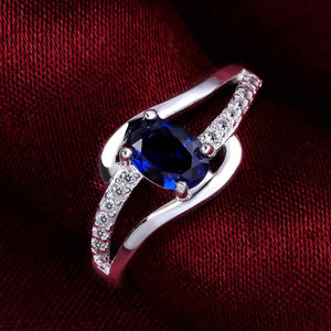 Blue stone silver plated ring