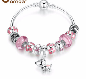 Silver Plated Dog Pendant Charm Bracelet (Pink )