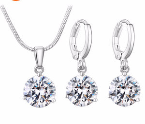 Round Cubic Zircon Jewelry Sets (21 Colors)