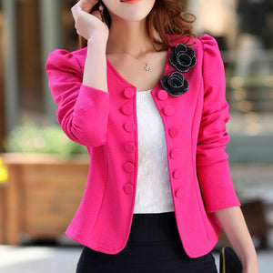 Flower Appliques Short Back Bow Blazers