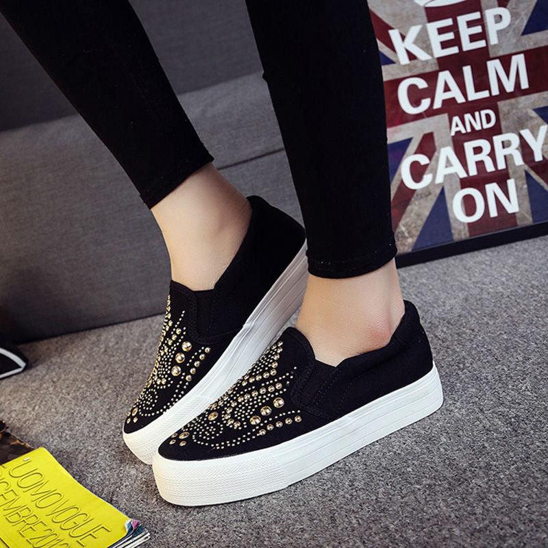 Stud Canvas Thick Bottom Shoes