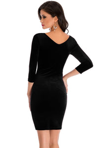 Hollow Out Round Neck Velvet Dress