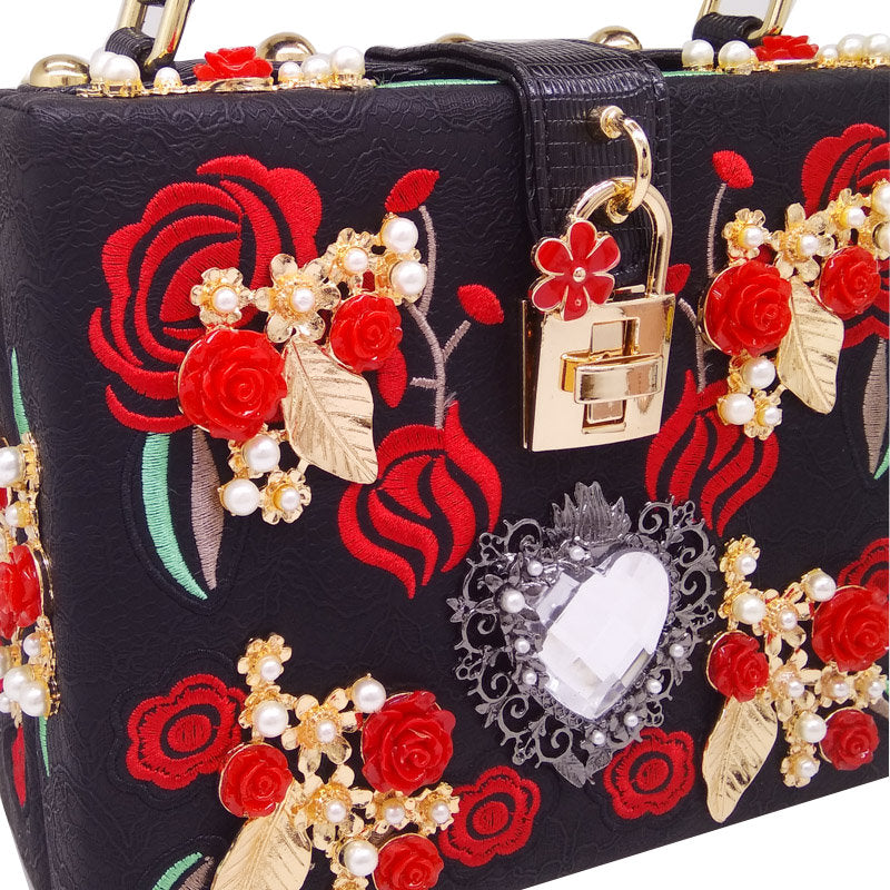Embroidery Red Rose Clutch