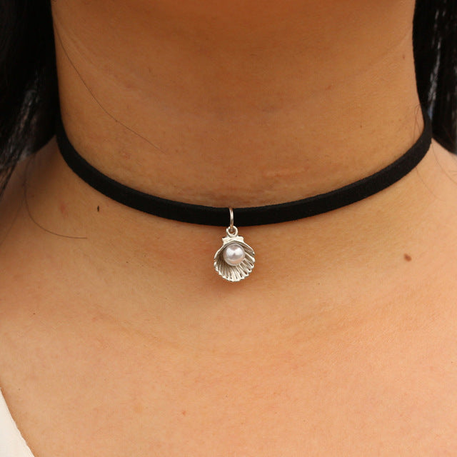 Black Velvet Leather Chain