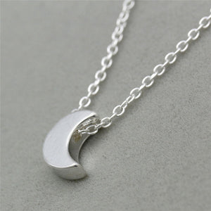 Minimalist Crescent Moon Silver Gold  Long Necklace