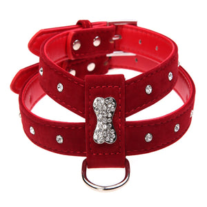 Bling Rhinestone Bone Velvet & Leather Collar