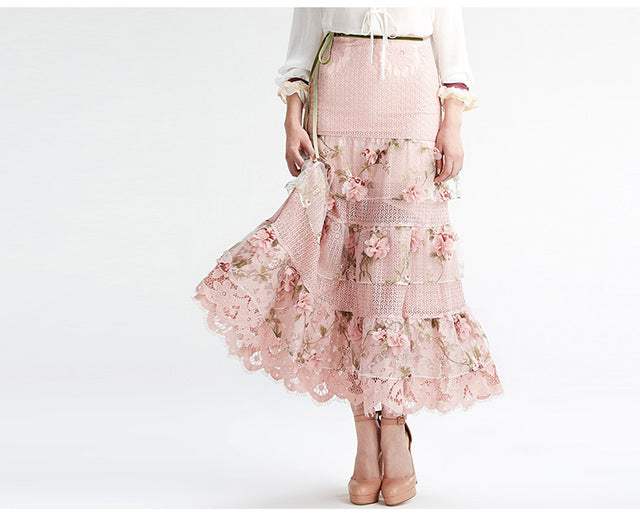 High Waist Lace Embroidery Maxi Skirt