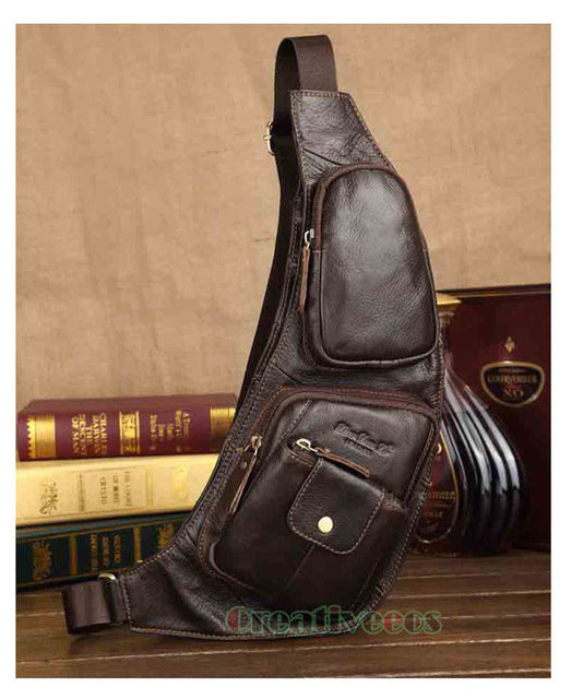 Men's Vintage Leather Travel  Sling Chest Bag