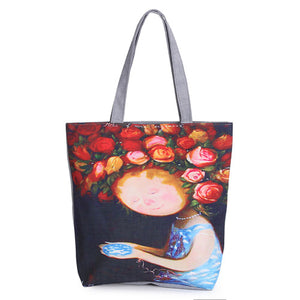 Floral Printed Canvas Tote Shopping Bags