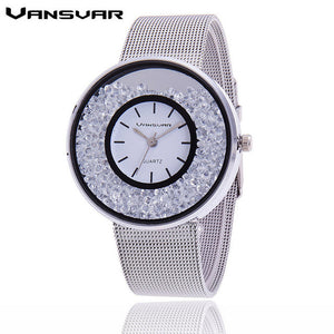 Stainless Steel Rhinestone Mesh Watch