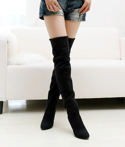 Leather sexy Stovepipe long boots