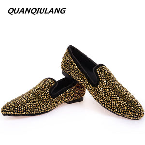 Golden Diamond Leather Loafers