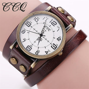 Vintage Cow Leather Bracelet WristWatch