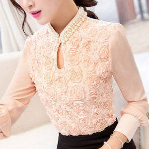 Chiffon Flower Beaded lace Top
