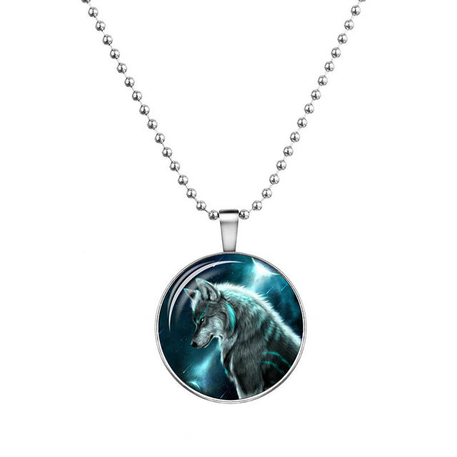Glow In The Dark Wolf Cabochon Glass Necklaces