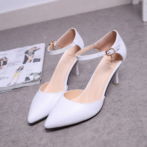 Woman Buckle Strap Pumps
