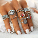 Moon Sun Ethnic Red Stone Ring