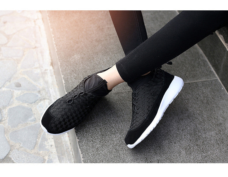 Cow leather knitting shoes
