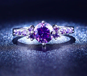 White Gold Ring For Women (Purple Diamond)