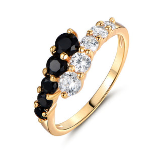 Gold-Color White & Black Crystals Ring