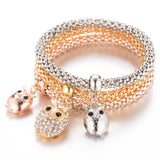 Gold Crystal 3Pcs/set Crystal Bead Owl Bracelet