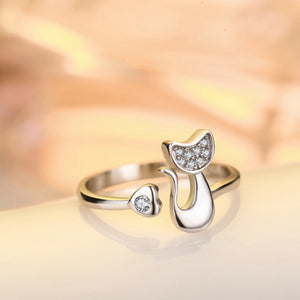 Platinum plated cat ring (resizable)