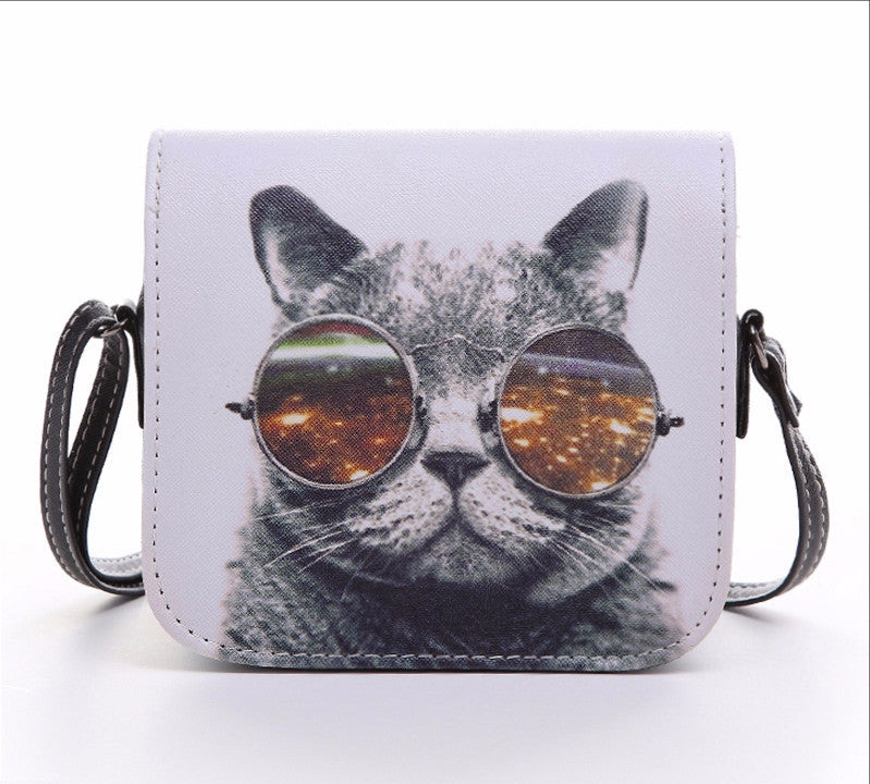 Leather Cat Wearing Glasses Women Handbag