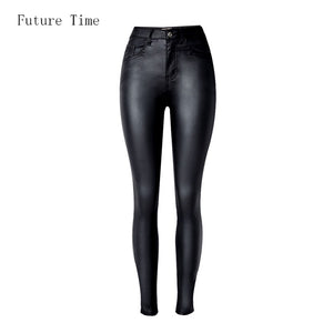 Faux leather High Waist slim Skinny Jeans