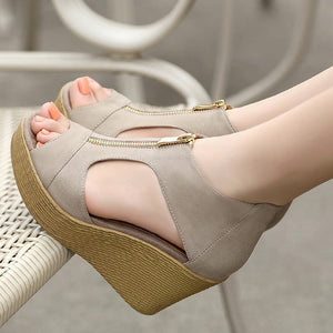 Wedge  High Heels Zippers Sandals
