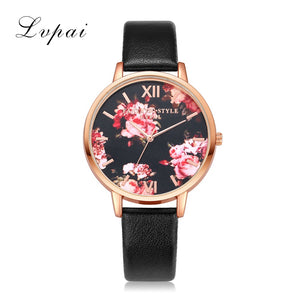 Leather Strap Rose Gold Women Watch