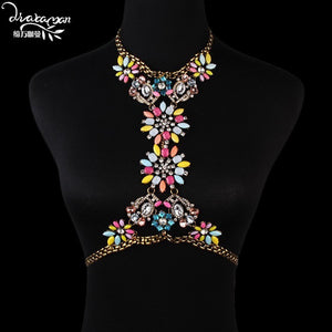 Long Crystal Rhinestone Pendant Necklace Bikini Body Jewelry