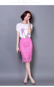 Lace High Waist Pencil Skirt