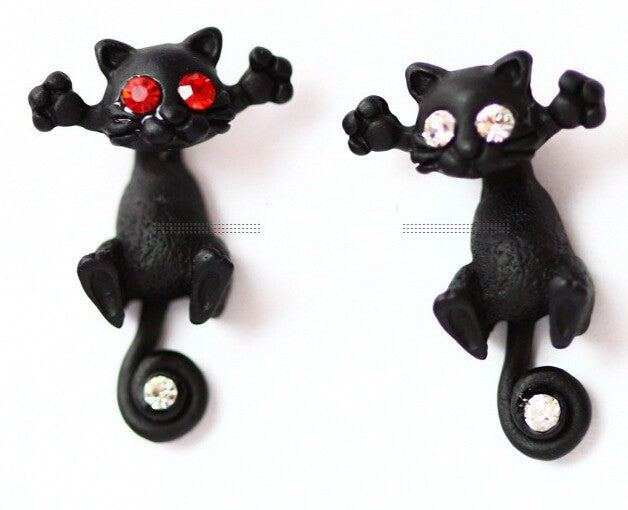 Black Kitten  Earrings